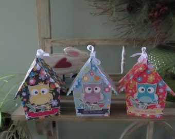 Colorful Flowered Large Bird House Favor Boxes Set of 12