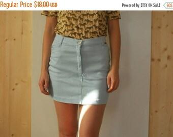 SALE Vintage 90's Light Blue High Waist Mini Pencil Skirt