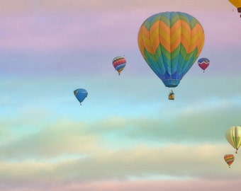Hot Air Balloons Photography Print Fine Art New Mexico Aqua Lavender Balloon Fiesta Sky Clouds Whimsical Landscape Photography Print.
