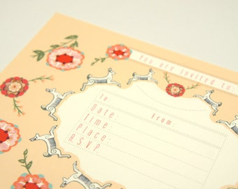 Deer and Flower Invitations and Envelopes Set