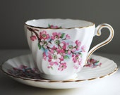 Aynsley Teacup and Saucer, Cherry Blossom White Swirl