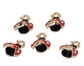 One Gold Plated Ladybug with Clear Rhinestones  Charm