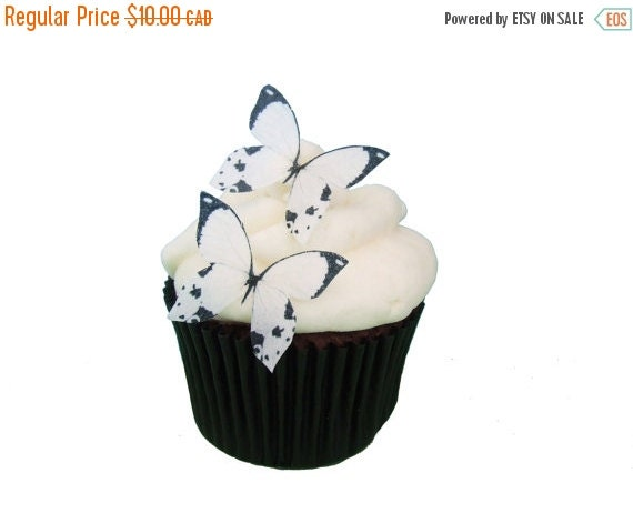 SALE Cake Cupcake Toppers 24 Edible Butterflies - 24 Mini White and Black -  Winter Wedding Cake Topper, Butterfly Toppers