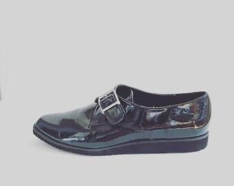 Vintage 90s ESPRIT NOS Patent Leather Buckle Shoes