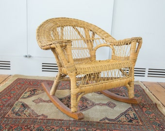 Vintage Boho Wicker Child's Chair
