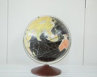 Vintage 1960s Rand McNally Black Globe