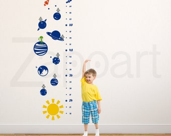 Deep Space Planets Growth Chart Wall Decal