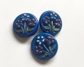 Blue Glass Buttons Hand Painted Flowers Set of 3