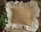 Burlap Pillow Cover -French Grain sack Burlap 16 inch square with 3 inch Muslin ruffle