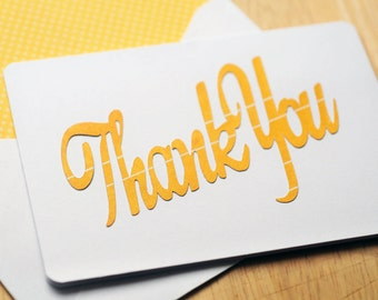 Cheerful Yellow Thank You Cards, Set of 4, Blank Card, Greeting Card, Blank Card Set