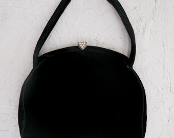 Vintage Black Velvet Evening Bag with Rhinestone Clasp, Attached Coin Purse