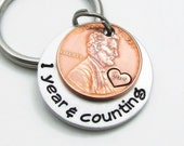 Personalized Anniversary Gift - Personalized KeyChain - Hand Stamped Couples Keychain - Years & Counting Keychain 1st Year Anniversary Gift