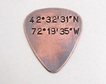 Personalized Longitude Latitude Guitar Pick - Personalized Men's Gift - Hand Stamped Copper Guitar Pick - Mens Coordinates engraved