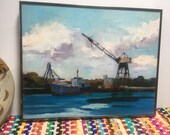 Vintage oil painting ship barge industrial water scene