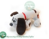 Small 80s Pound Puppy by Tonka: Gray with Black-Brown Spots