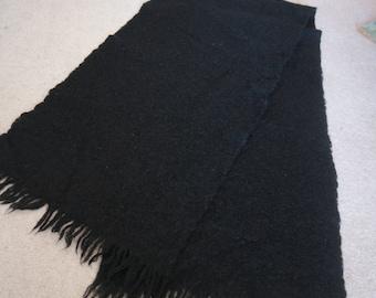 Black wool mohair vintage wrap stole