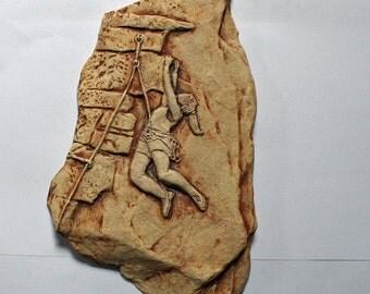 Female Rock Climber Ceramic Wall Hanging