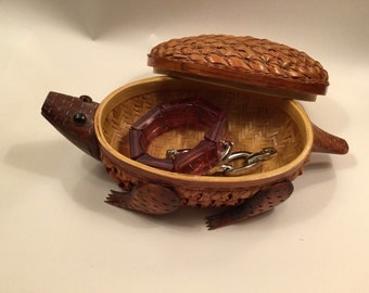 Clever Turtle Basket and Lid from the Peoples Republic of China of Woven Straw & Carved Wood