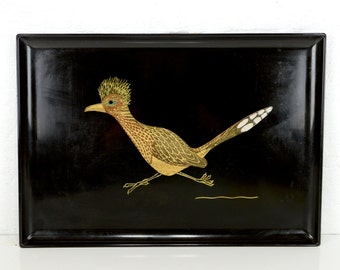 """serving tray, mid century, Couroc, large, roadrunner, display tray, Couroc of Monteray, black, gold, elegant and kitsch, 18"""""""