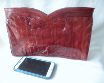 vintage 80's eel skin leather clutch purse shoulder bag