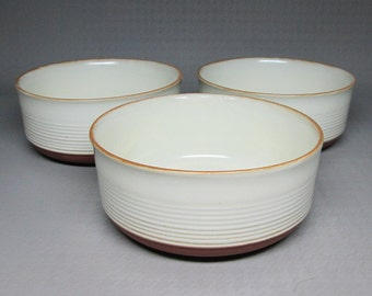 Kiln Craft 3 small soup / cereal bowls , red terra cotta clay KK1 k.k.1.