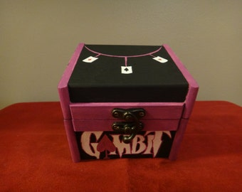 Custom Painted Wooden Keepsake Box - Gambit (X-Men, XMen)