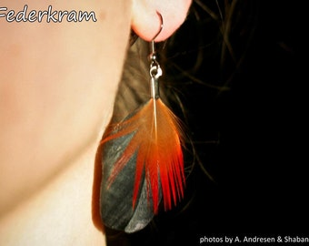 Crow feather earrings, black raven & red pheasant, handmade