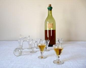10 Shot Glasses French bar 50s - french vintage lovely glasses French Vintage Glass French Café Calva Hooch
