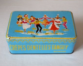 French cookies - Turquoise Shabby Chic French Tin Box - Lovely Shabby Chic French Vintage Metal Box Blue Tin