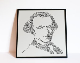 "Immanuel Kant - Drawings inside the portrait - illustrated comics Wall Art - Ltd edition of 100 - 8"" x 8"" or 12"" x 12 """