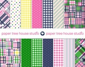 Digital Papers - Madras Gingham Stripes Dots - Navy Blue Pink Green - Fourteen 8.5x11 & 12x12 inch Print Ready Files -PNG Format - ID 2024
