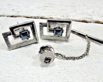 Vintage Modernist Cuff-Links & Tie Tack Pin Set, SWANK Gray Hematite Cuff-Links, Mid-Century Modern Cuff-Links, 1960s Cool Mens Jewelry