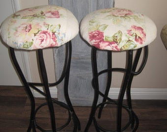 Parisian Chic Pair of Unique Vintage Stools - 2 Hand Forged Wrought Iron Bar Stools - Bar Height Black Iron Patterned Fabric Covered
