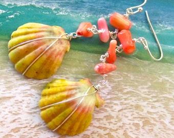 Pink Skies Sunrise Shell Earrings