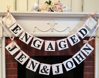 Couples Shower Decorations / Engaged banner / Bridal Shower Decorations / Engagement Party Decorations  / Wedding Decor / Custom colors