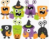 halloween monsters clipart clip art digital - Halloween Monsters Digital Clipart