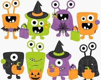 halloween monsters clipart clip art digital - Halloween Monsters Digital Clipart