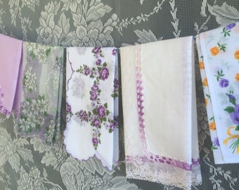 Vintage Lavender Purple Floral Hanky Lot 1411