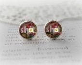 "MATURE  Round Glass ""Sh#t"" Stud Earrings"