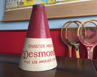 Desmonds Los Angeles USC Red and Cream Promotional Megaphone Retro Mid Century SC Trojans Big Game Go Team!