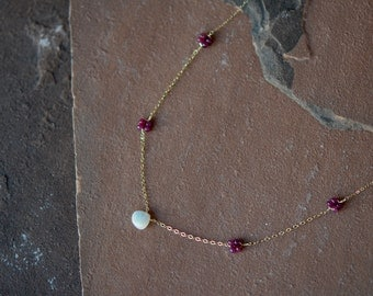 Gemstone Necklace, Natural Rubies and Opal, Delicate Gold Chain, Ruby Rosettes, Opal Pendant