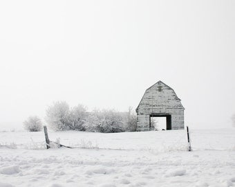 Iowa Photography, Winter Country Roads Prints, Landscape Nature Photography, Barn Print, Minimalist Rural Art, White Wall Art, White Barn