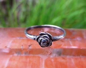 Sterling Silver Rose Stacking Ring Size 8
