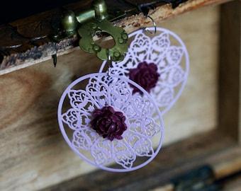 Lavender Floral Lace Earrings Plum Filigree Flower Earrings Pastel Violet Metal Lace Lilac Filigree Earrings Statement Earrings - E317