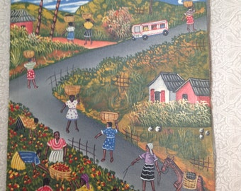 Original Primitive Folk Art Painting Of Life in Haiti Signed Edy Mirtyl