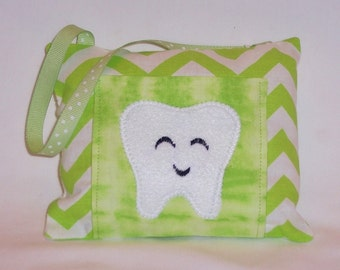 Lime Green Chevron Tooth Fairy Pillow