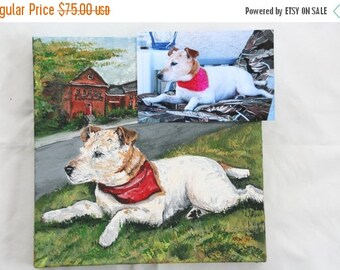 "DELAYED SHIPPING thru 8/3 Custom Pet Portrait 10"" x 10"" Acrylic on Stretched Canvas"