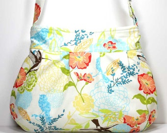Hummingbirds and Flowers Pleated Shoulder Purse Hobo Shoulder Bag Cross Body Bag Humming Bird Purse Large Pleated Bag - Ready to Ship