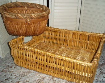 2 Large willow wicker woven woven baskets w handles Farmhouse gathering,  Magazine crate, storage French cottage chic..Reduced..WAS 18.99