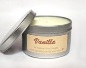 Vanilla  Soy Candle Scented  - Handmade Natural Soy Wax Candle Dye-Free - Eco-Friendly 8oz Recyclable Tin